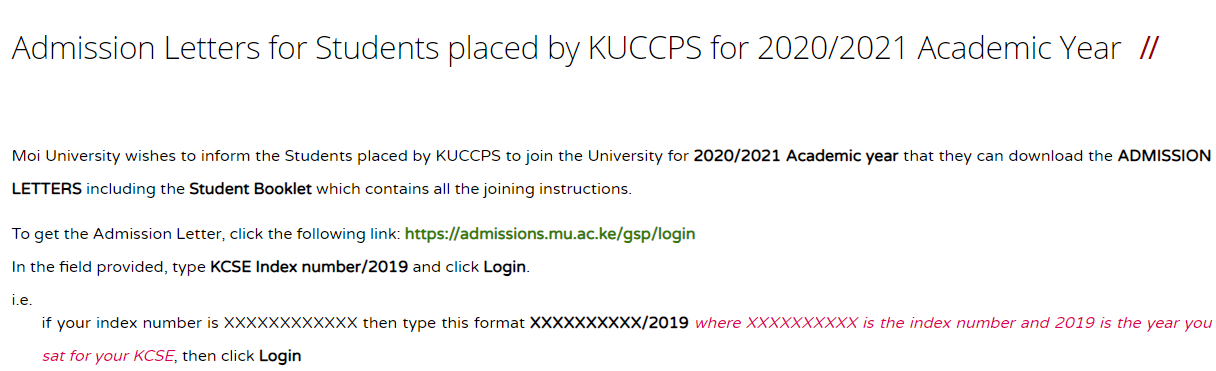 Read more about the article How to download Moi University's KUCCPS admission letter