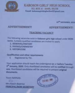 Read more about the article Teaching Vacancy at Kaboson Girls High School