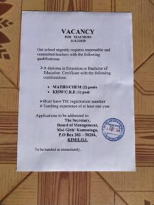 Read more about the article Vacancy for Teachers at Moi Girls' Kamusinga