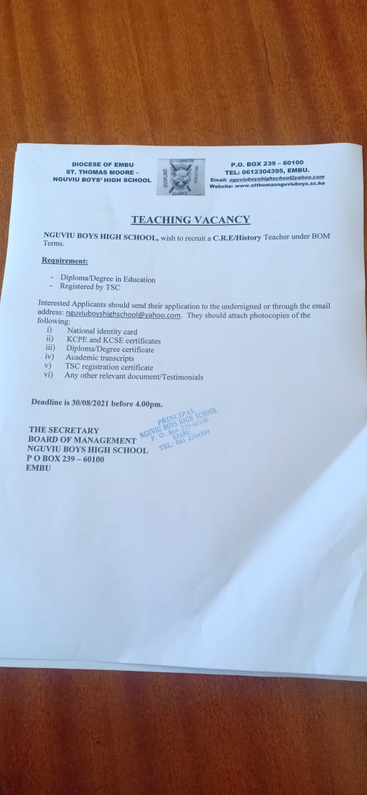 Read more about the article Teaching Vacancy at Nguviu Boys High School